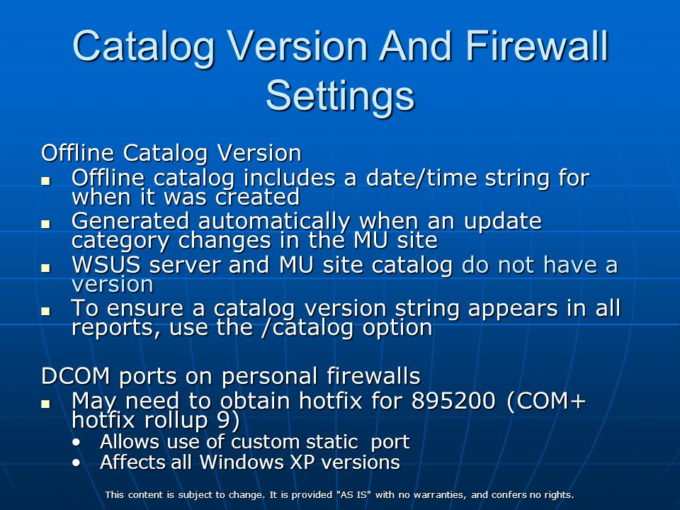 Catalog Version And Firewall Settings
