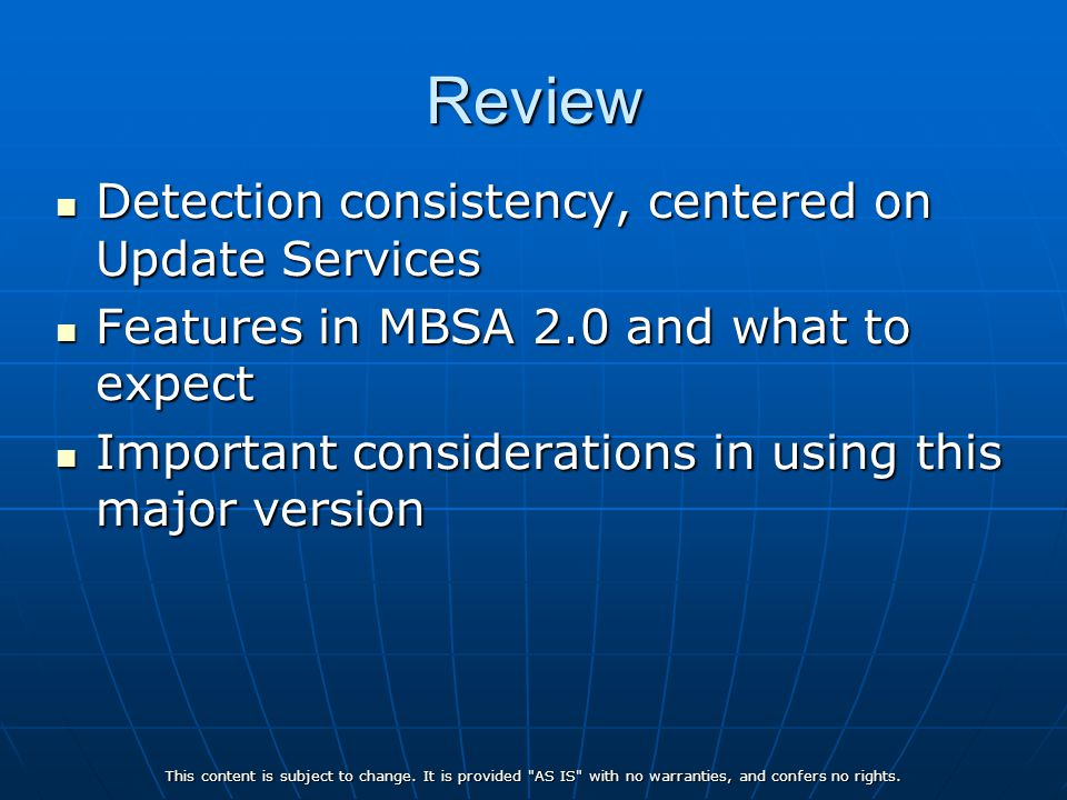 Review Detection consistency, centered on Update Services