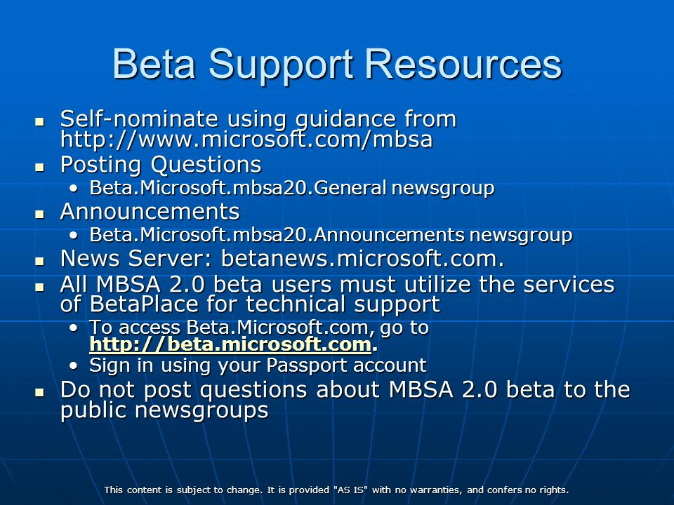 Beta Support Resources