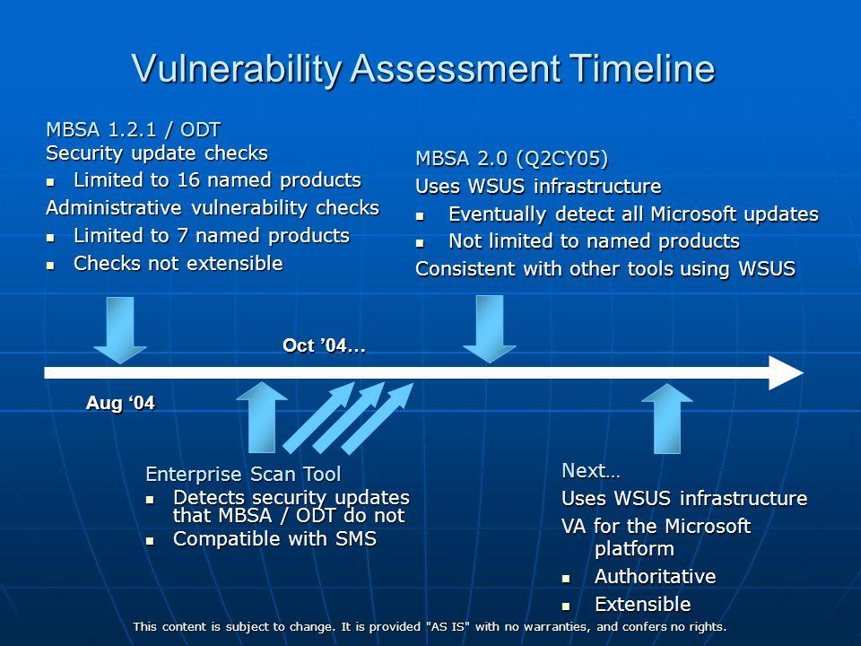 Vulnerability Assessment Timeline