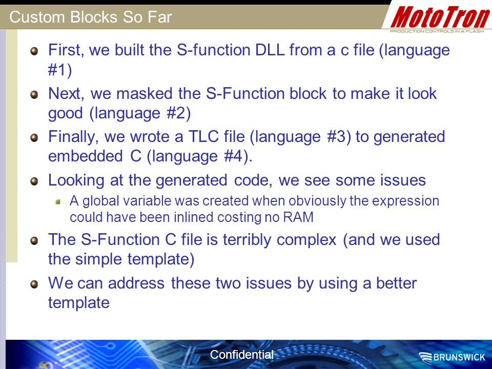 First, we built the S-function DLL from a c file (language #1)