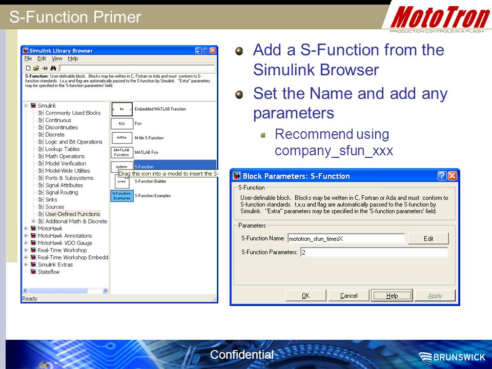 Add a S-Function from the Simulink Browser