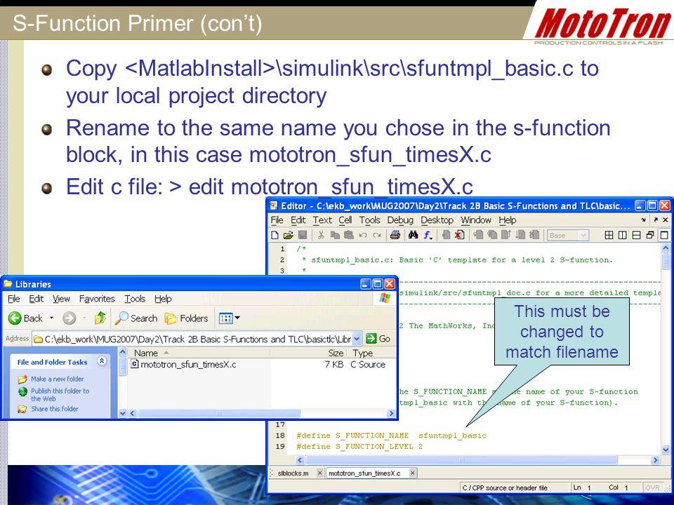 S-Function Primer (con't)