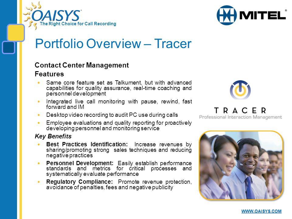 Portfolio Overview – Tracer