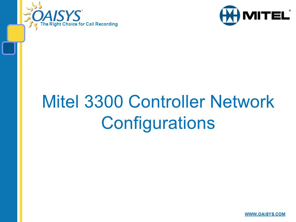 Mitel 3300 Controller Network Configurations