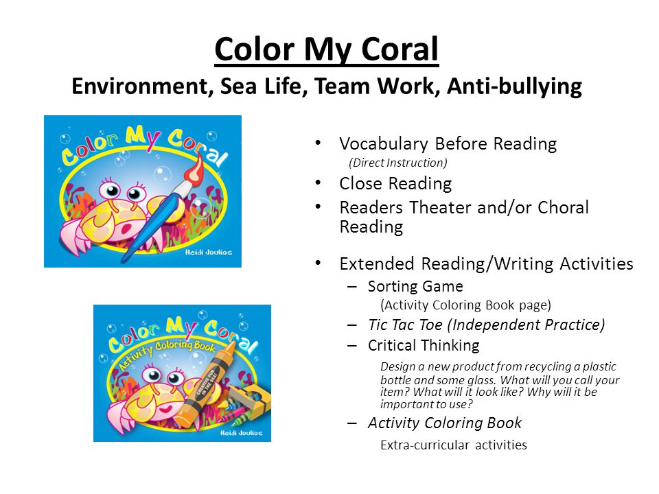 Color My Coral Environment, Sea Life, Team Work, Anti-bullying