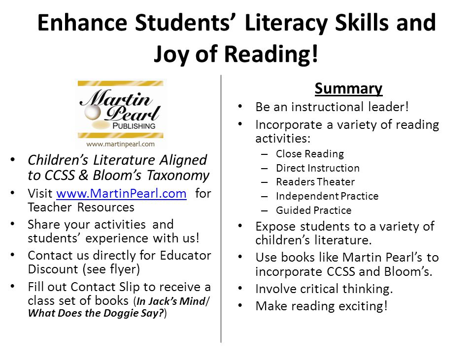 Enhance Students' Literacy Skills and Joy of Reading!
