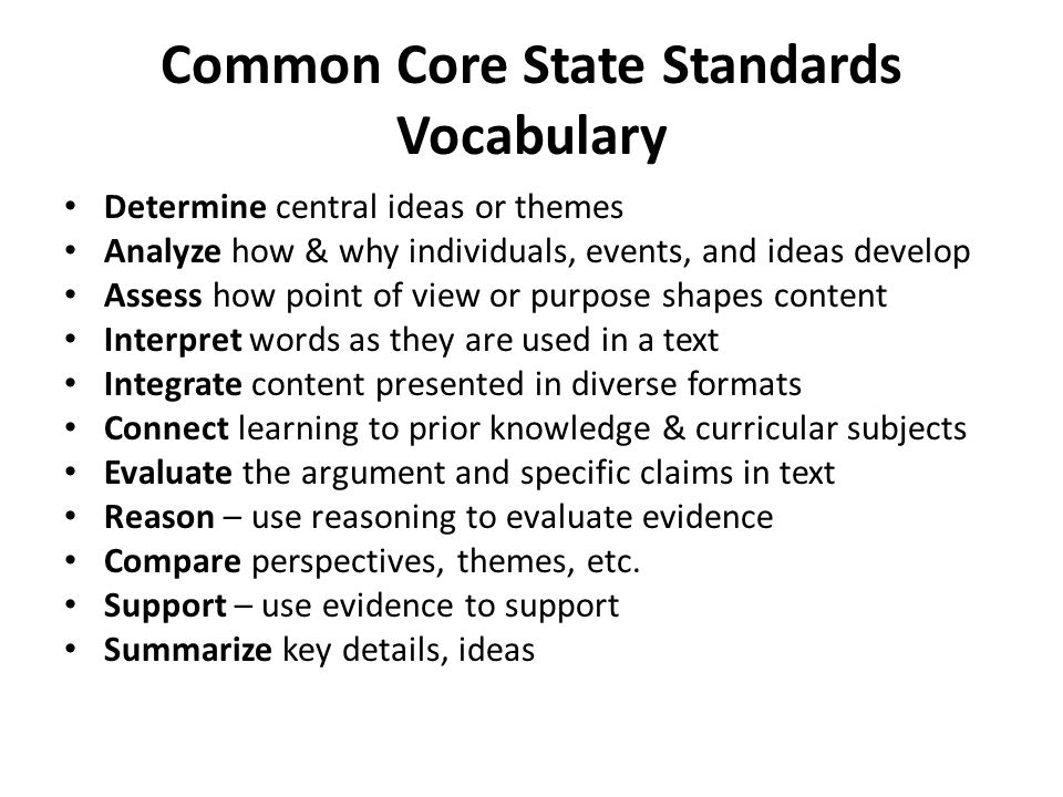Common Core State Standards Vocabulary