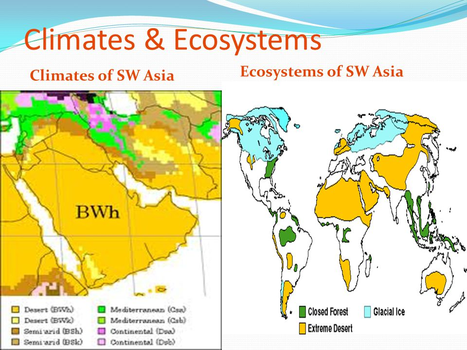 Climates & Ecosystems Ecosystems of SW Asia Climates of SW Asia