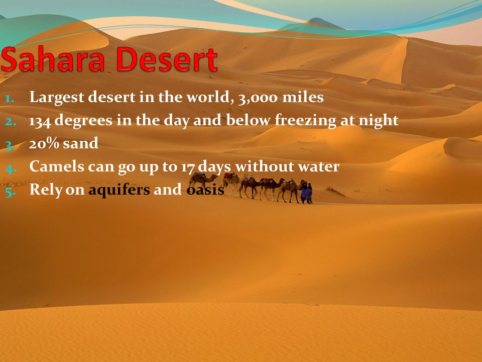 Sahara Desert Largest desert in the world, 3,000 miles