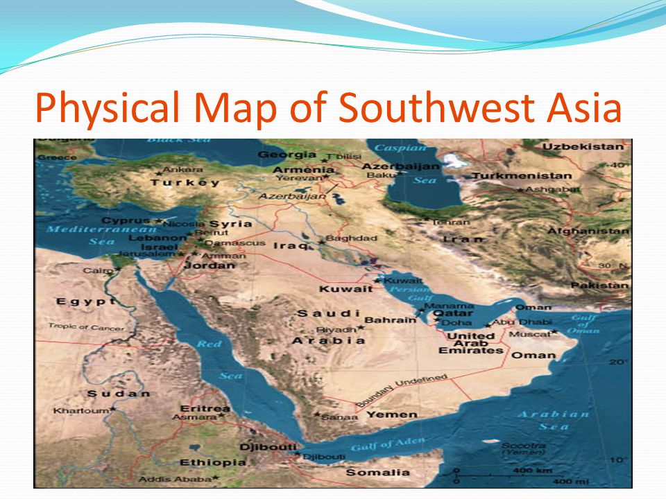 Physical Map of Southwest Asia