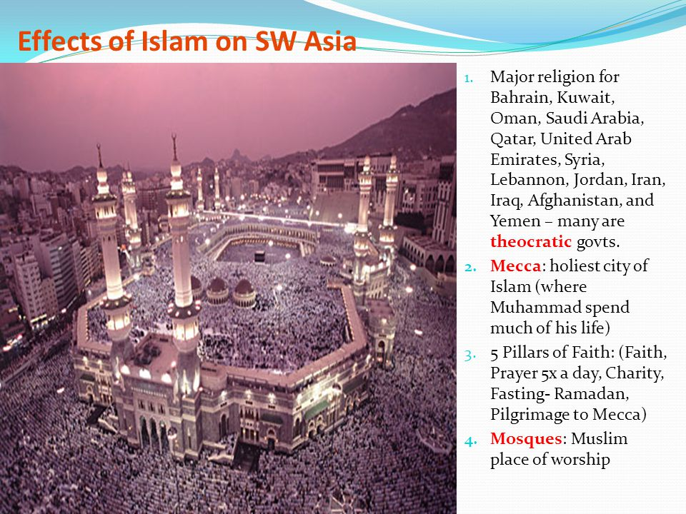 Effects of Islam on SW Asia