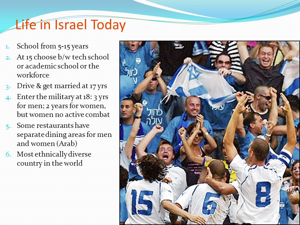 Life in Israel Today School from 5-15 years