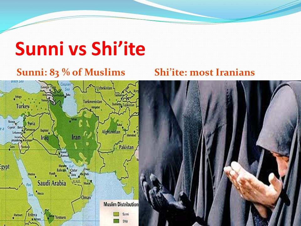 Sunni vs Shi'ite Sunni: 83 % of Muslims Shi'ite: most Iranians