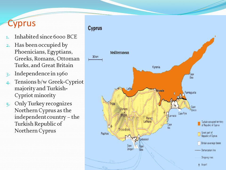 Cyprus Inhabited since 6000 BCE