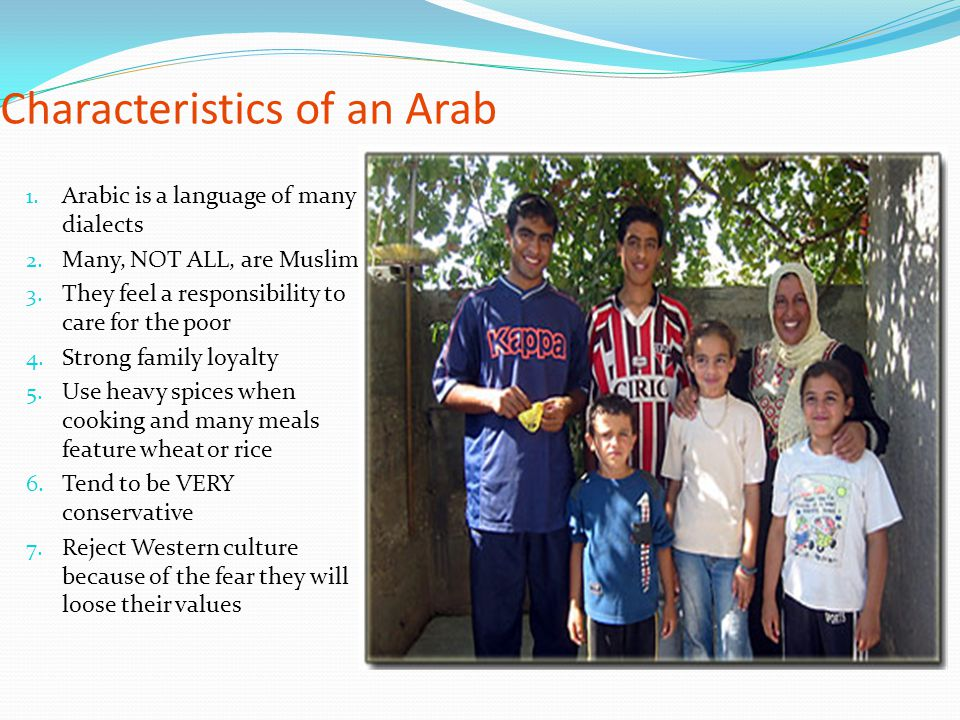 Characteristics of an Arab