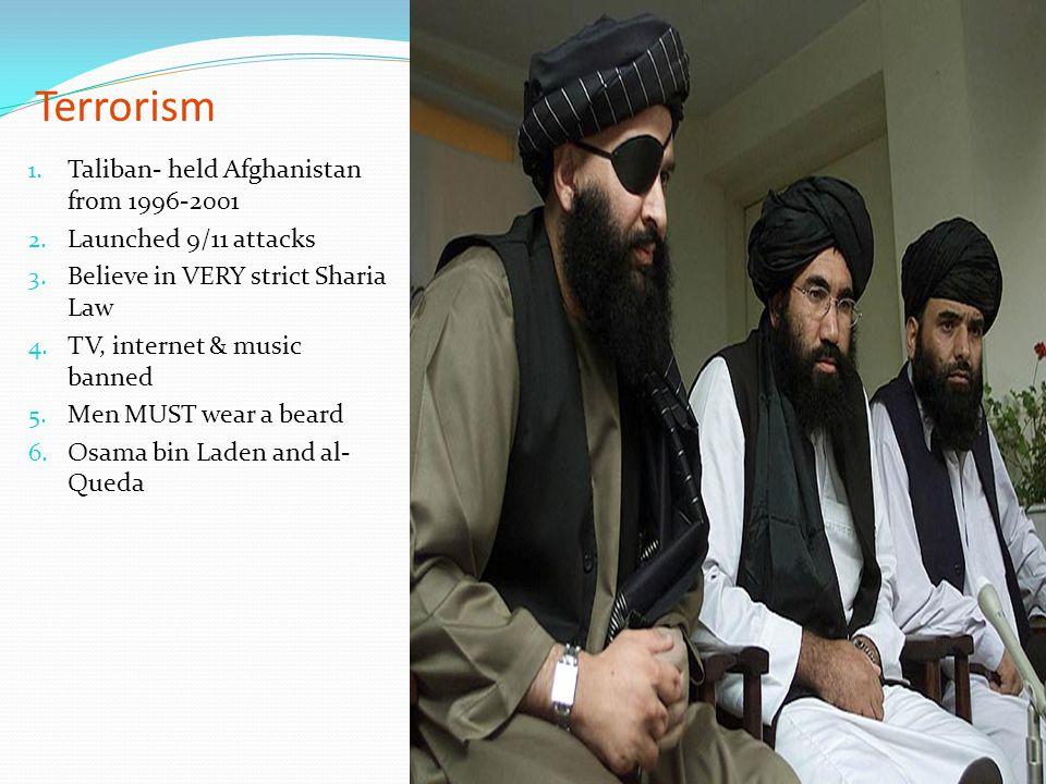 Terrorism Taliban- held Afghanistan from 1996-2001