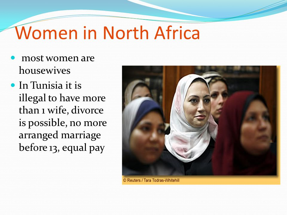 Women in North Africa most women are housewives