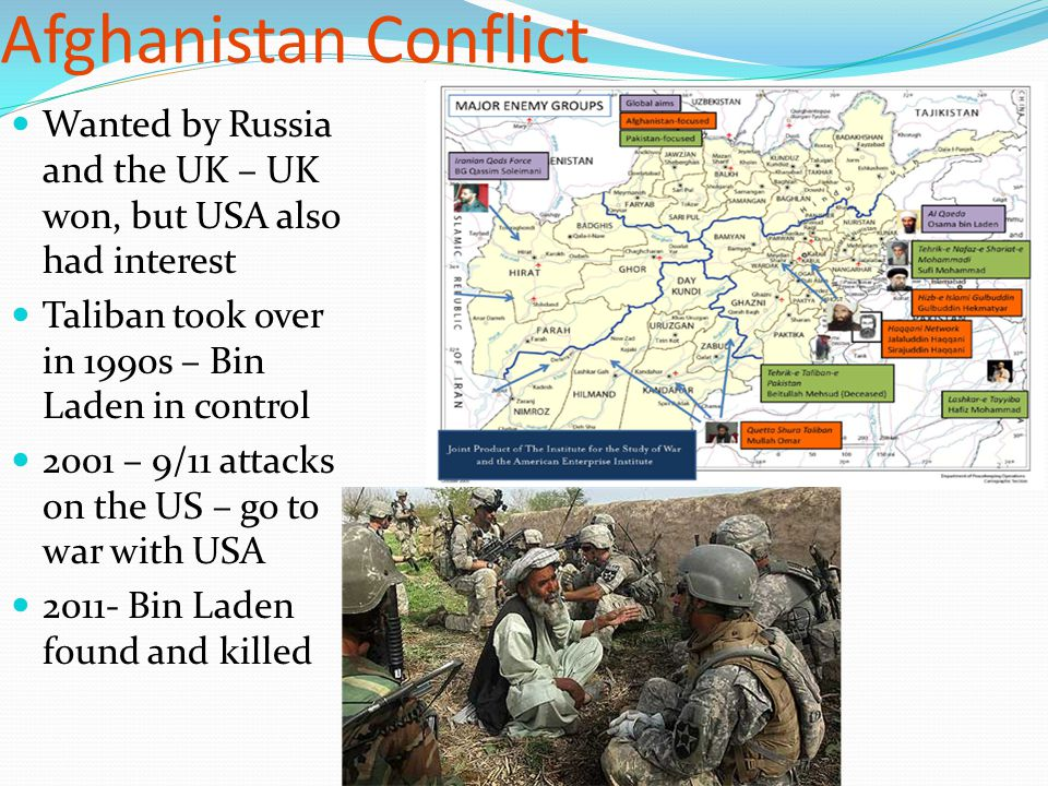 Afghanistan Conflict Wanted by Russia and the UK – UK won, but USA also had interest. Taliban took over in 1990s – Bin Laden in control.