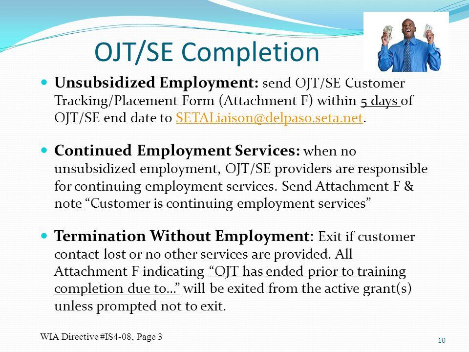 OJT/SE Completion