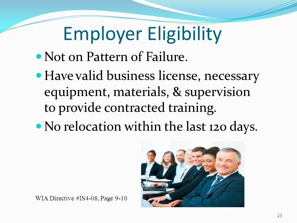 Employer Eligibility Not on Pattern of Failure.