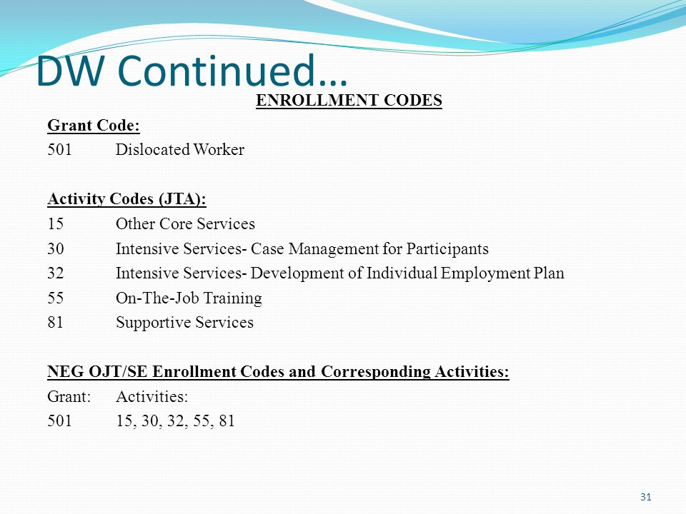 DW Continued… ENROLLMENT CODES Grant Code: 501 Dislocated Worker