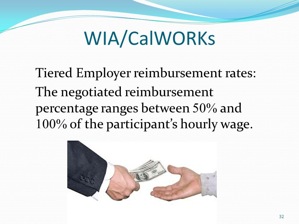 WIA/CalWORKs Tiered Employer reimbursement rates: