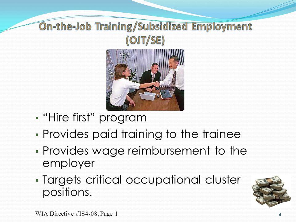 On-the-Job Training/Subsidized Employment (OJT/SE)