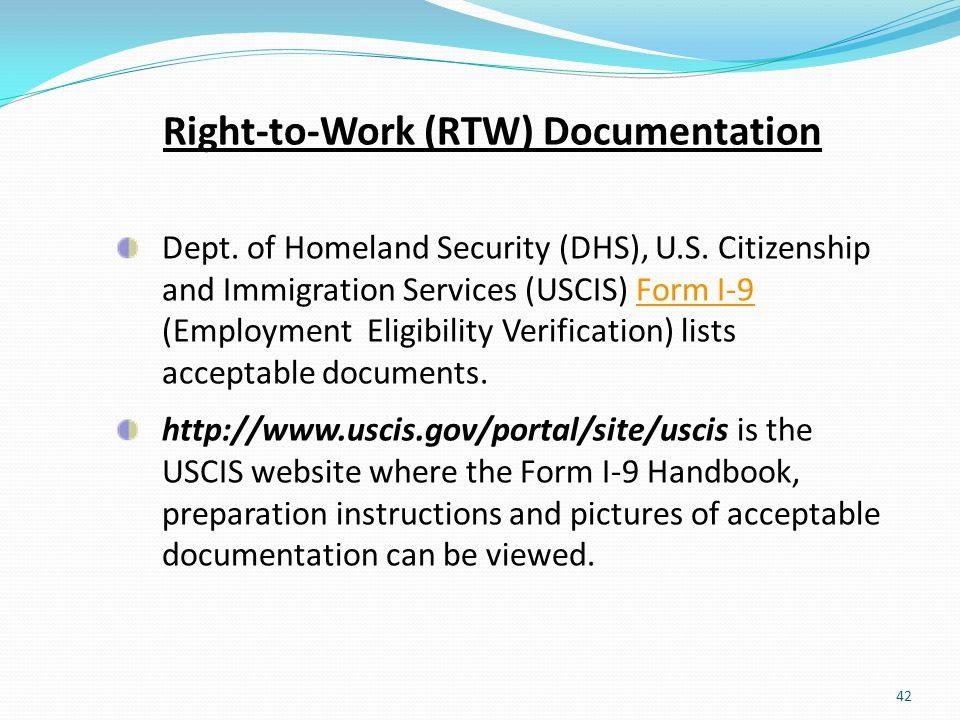 Right-to-Work (RTW) Documentation