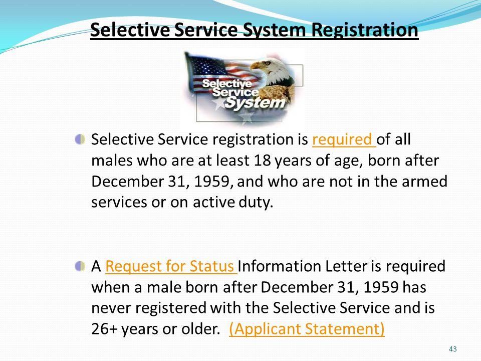 Selective Service System Registration