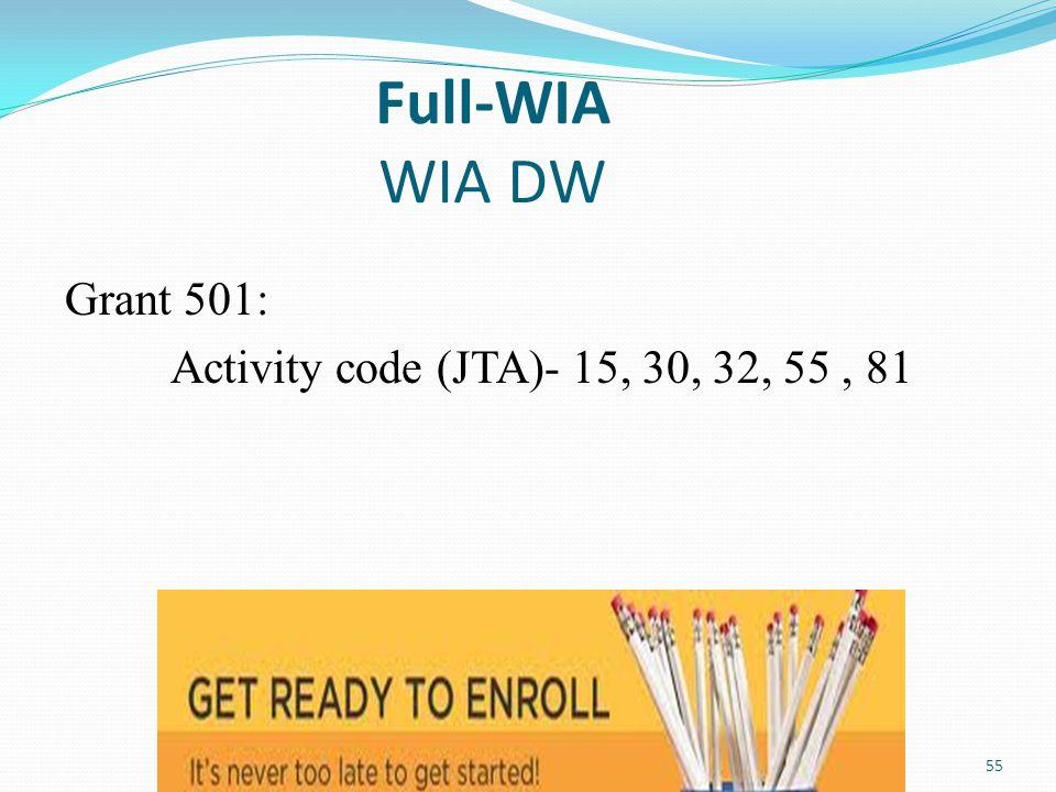 Full-WIA WIA DW Grant 501: Activity code (JTA)- 15, 30, 32, 55 , 81