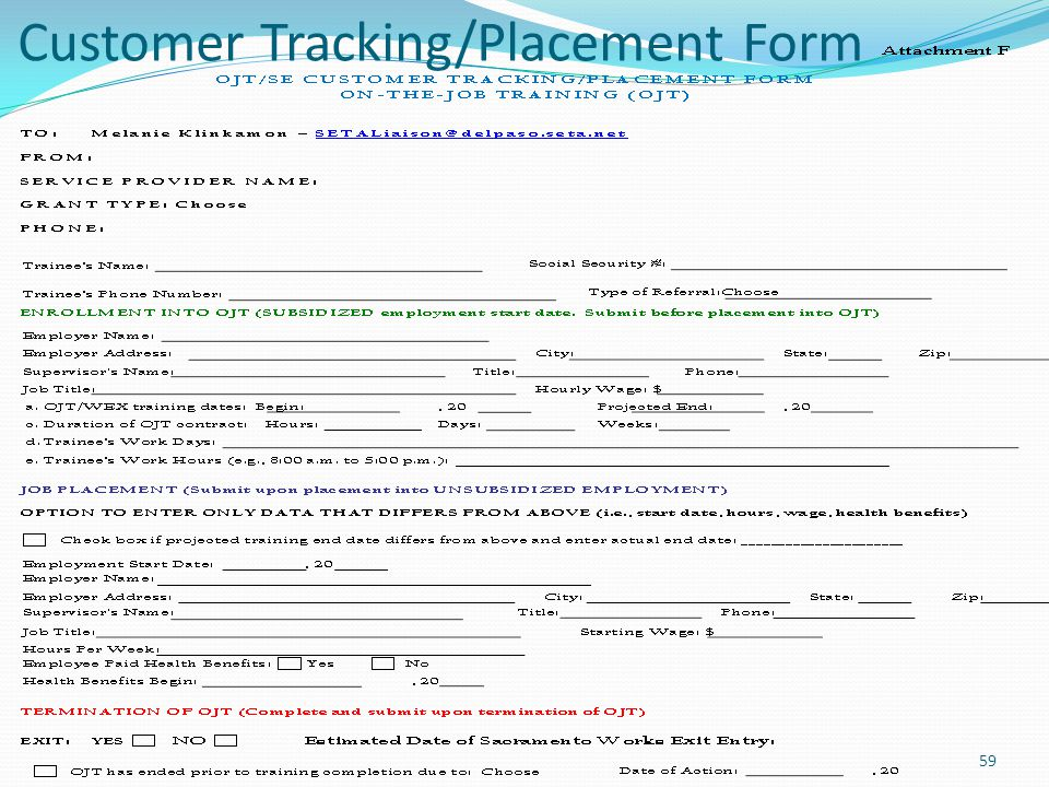 Customer Tracking/Placement Form