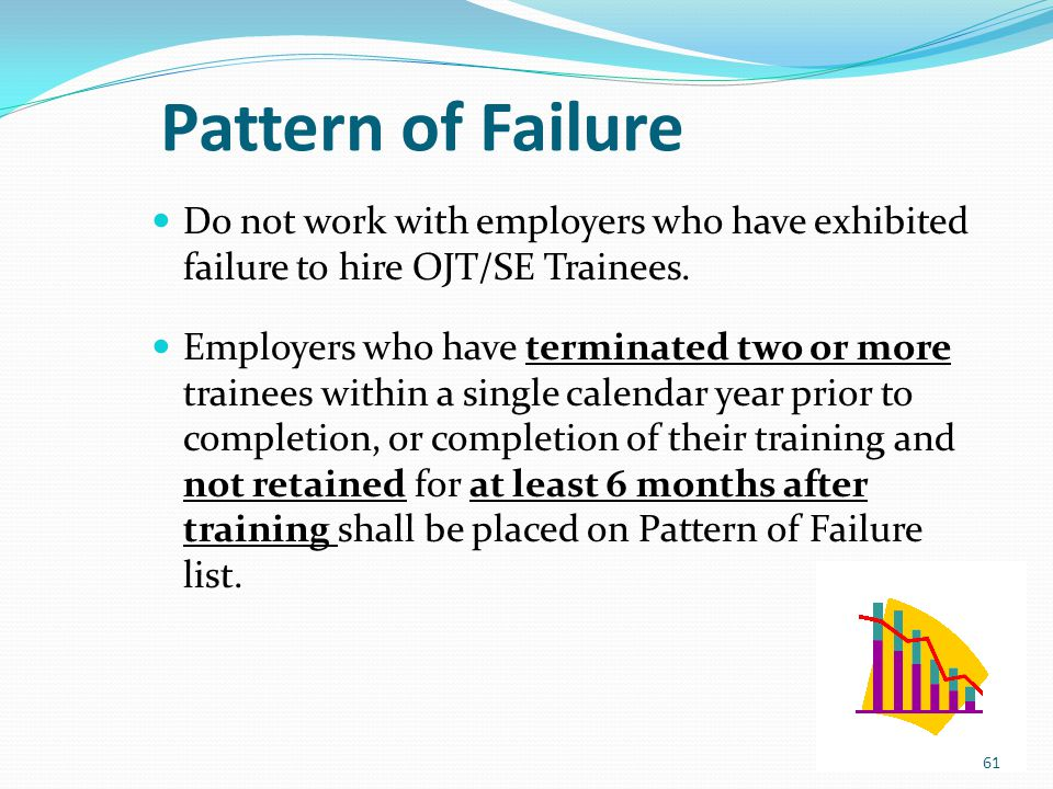 Pattern of Failure Do not work with employers who have exhibited failure to hire OJT/SE Trainees.