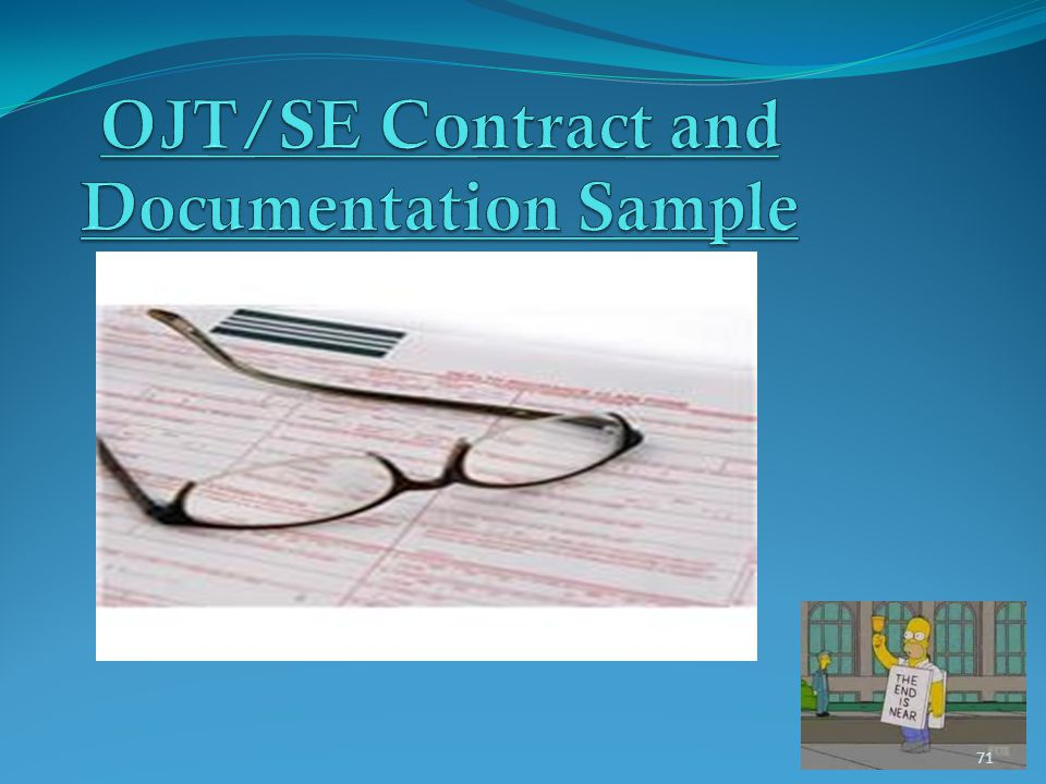 OJT/SE Contract and Documentation Sample