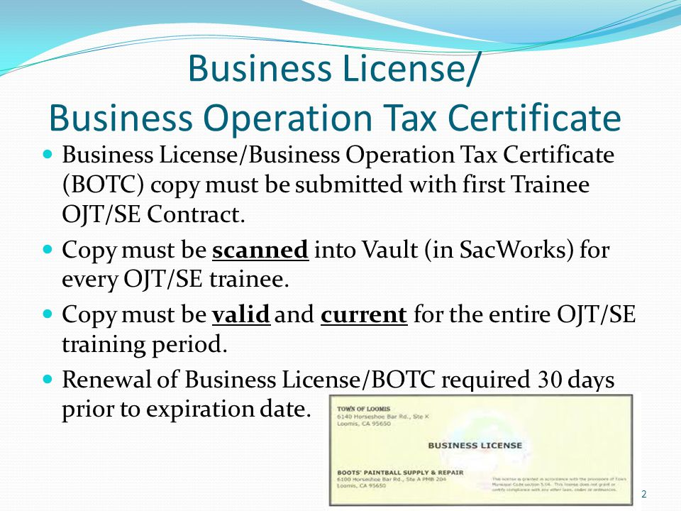 Business License/ Business Operation Tax Certificate