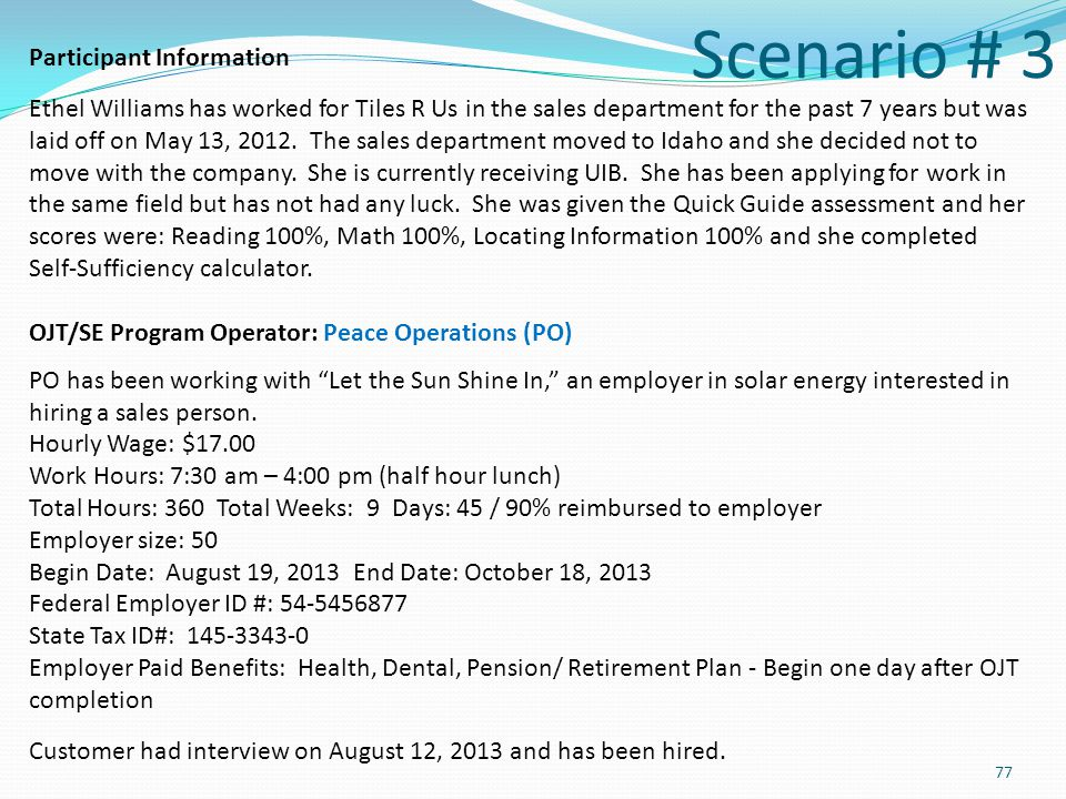 Scenario # 3 Participant Information