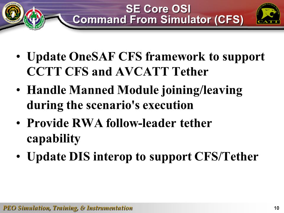 SE Core OSI Command From Simulator (CFS)