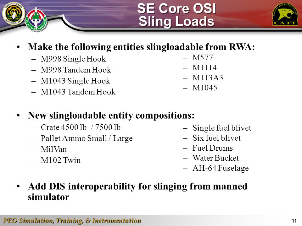 SE Core OSI Sling Loads Make the following entities slingloadable from RWA: M998 Single Hook. M998 Tandem Hook.