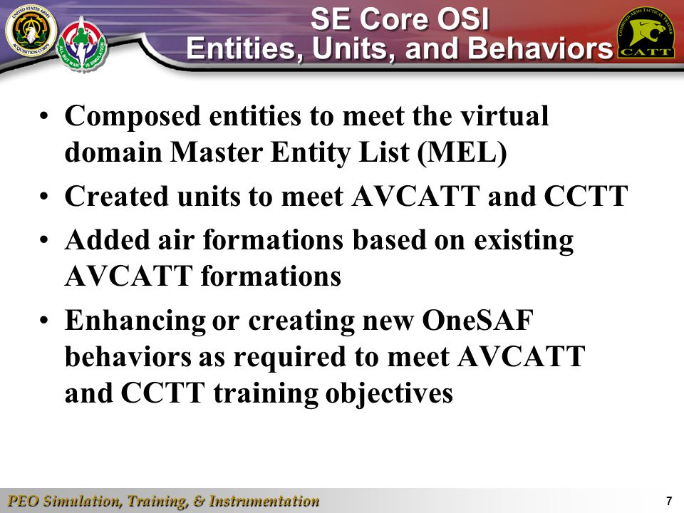 SE Core OSI Entities, Units, and Behaviors