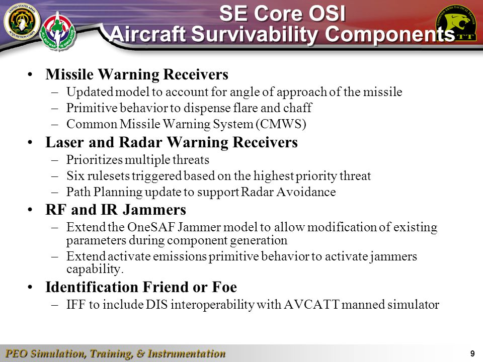 SE Core OSI Aircraft Survivability Components