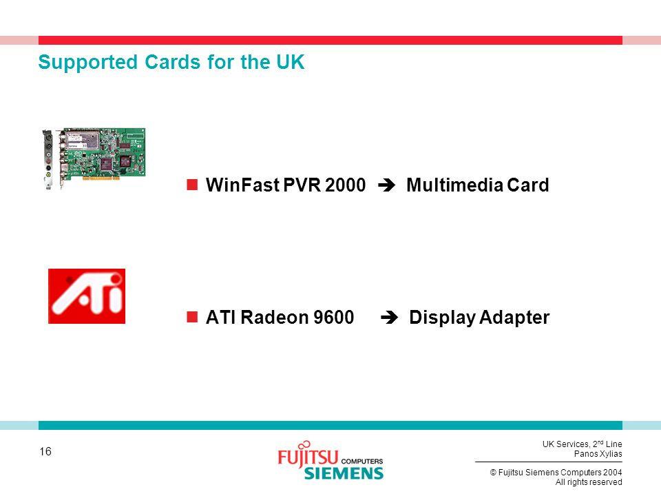 Supported Cards for the UK