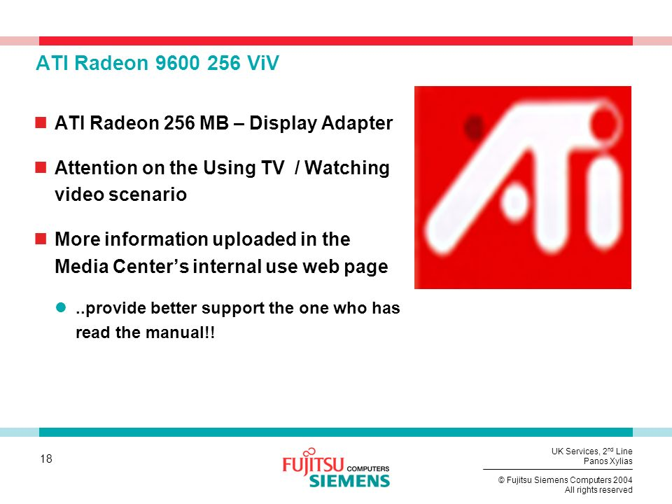 ATI Radeon 9600 256 ViV ATI Radeon 256 MB – Display Adapter