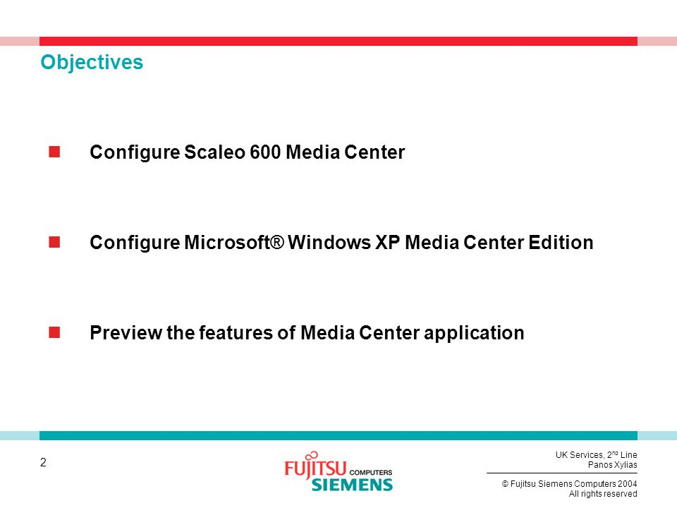 Objectives Configure Scaleo 600 Media Center