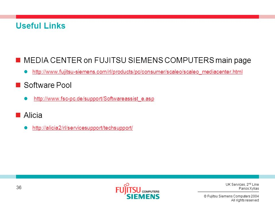 Useful Links MEDIA CENTER on FUJITSU SIEMENS COMPUTERS main page
