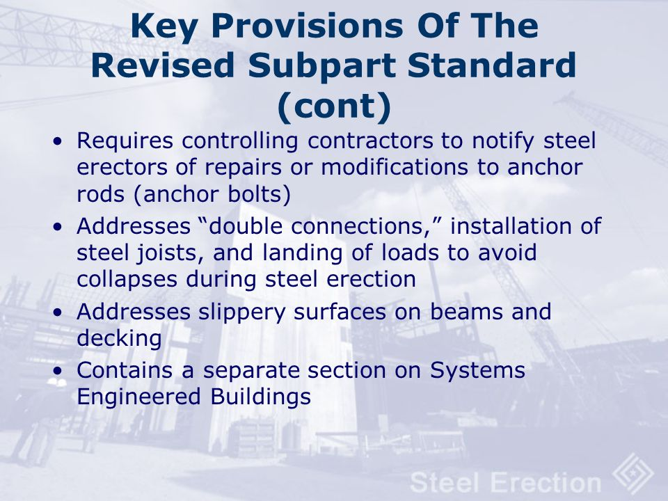 Key Provisions Of The Revised Subpart Standard (cont)