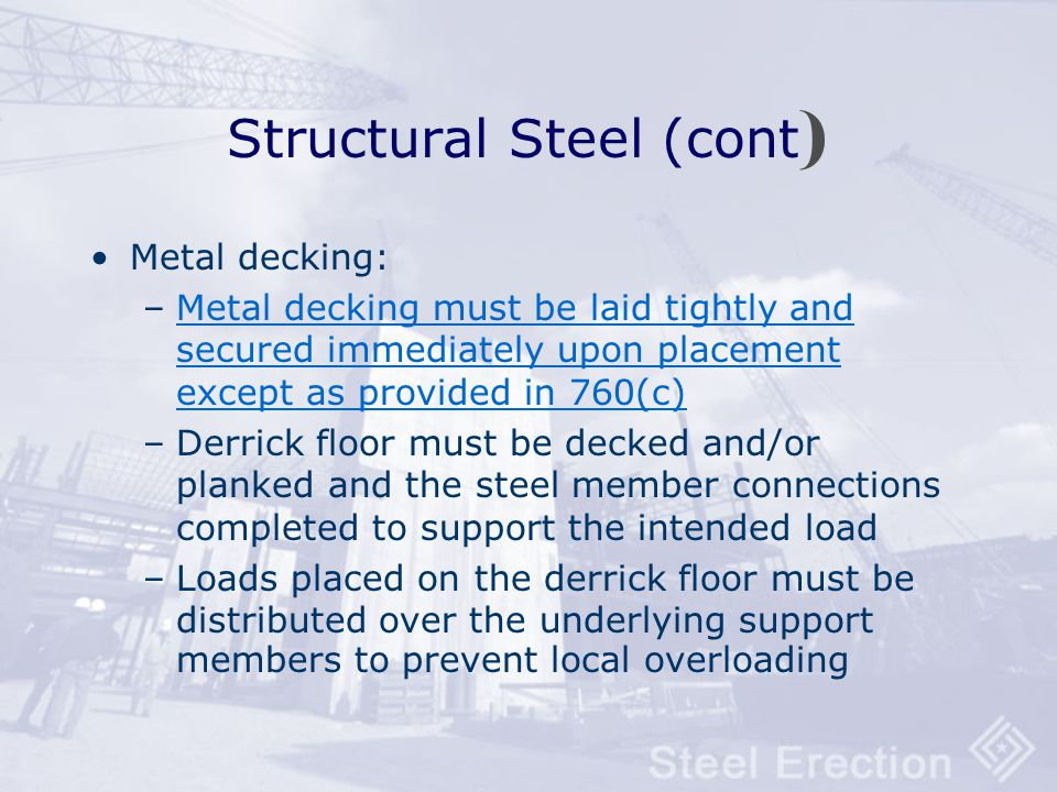 Structural Steel (cont)