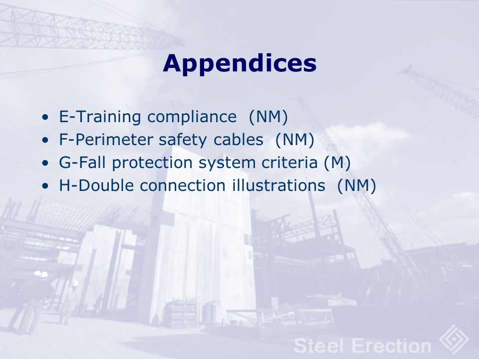 Appendices E-Training compliance (NM) F-Perimeter safety cables (NM)