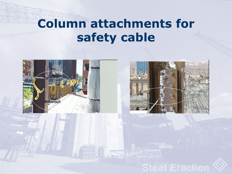 Column attachments for safety cable