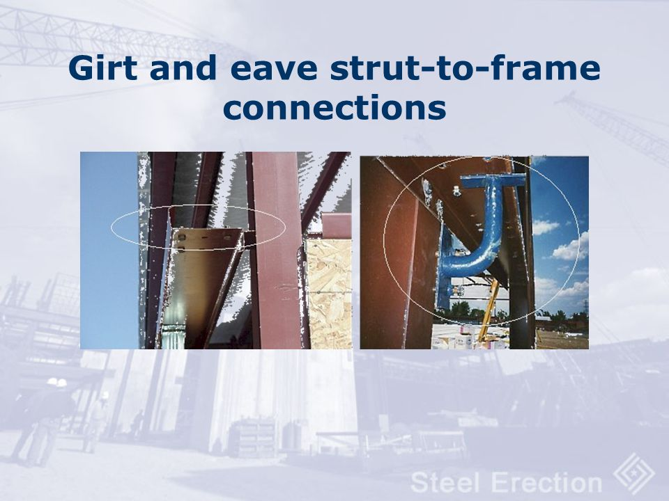 Girt and eave strut-to-frame connections