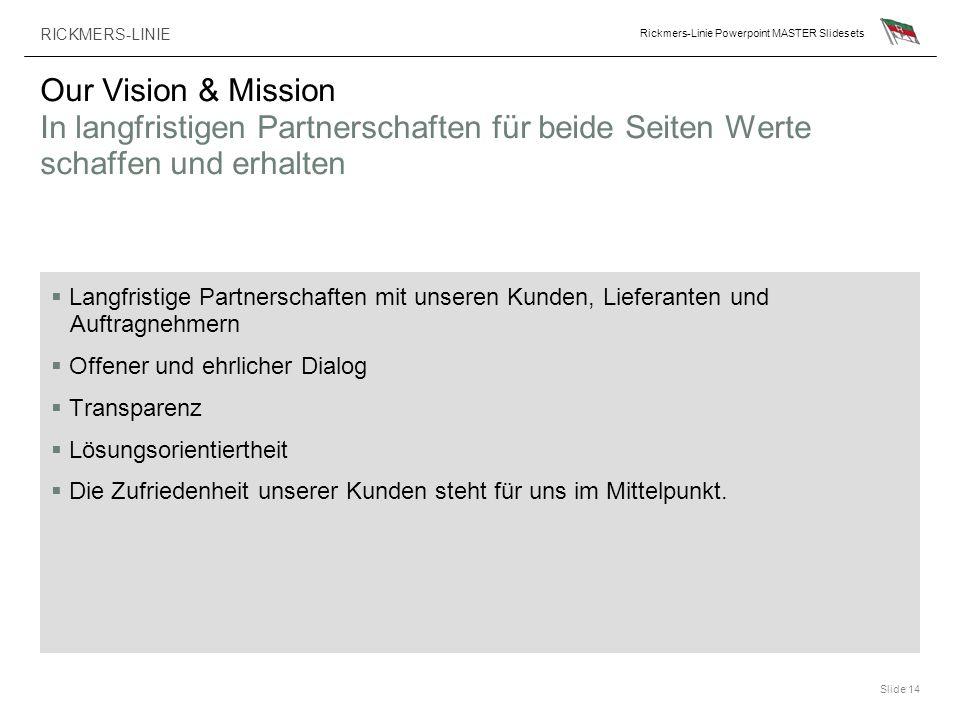 Our Vision & Mission In langfristigen Partnerschaften für beide Seiten Werte schaffen und erhalten